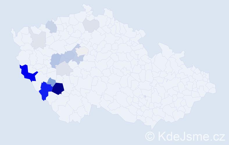 Příjmení: 'Blatský', počet výskytů 48 v celé ČR