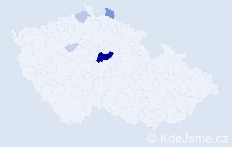 Příjmení: 'Hübstová', počet výskytů 12 v celé ČR