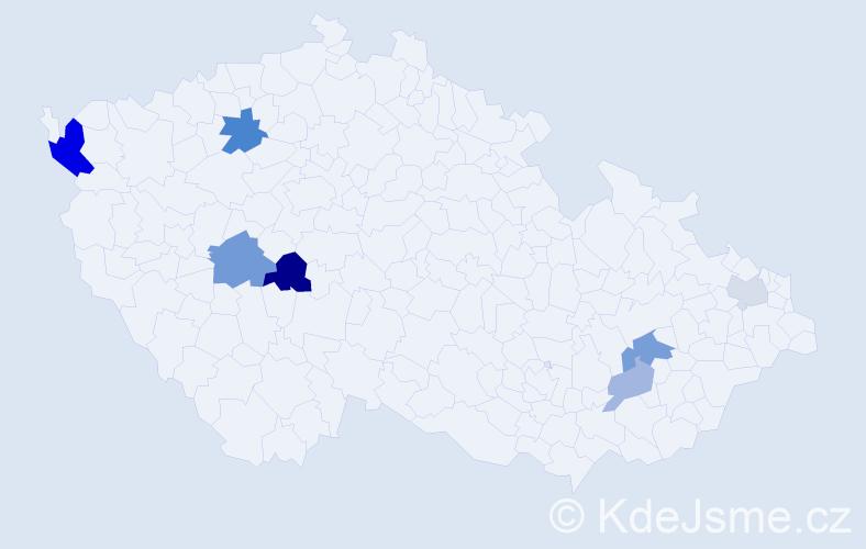 Příjmení: 'Fedas', počet výskytů 14 v celé ČR