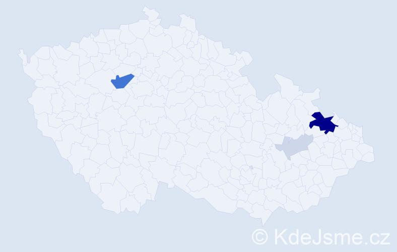 Příjmení: 'Hajka', počet výskytů 17 v celé ČR