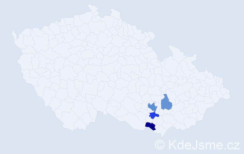 Příjmení: 'Džiuban', počet výskytů 8 v celé ČR