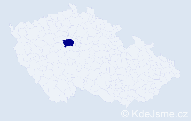 """Příjmení: '""""Jeřábková Hartingsová""""', počet výskytů 1 v celé ČR"""