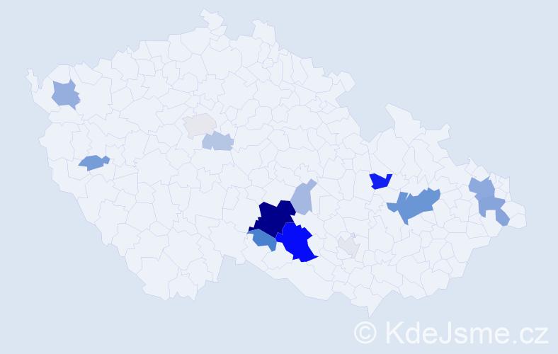 Příjmení: 'Fašinová', počet výskytů 46 v celé ČR