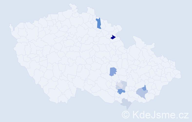Příjmení: 'Esender', počet výskytů 16 v celé ČR