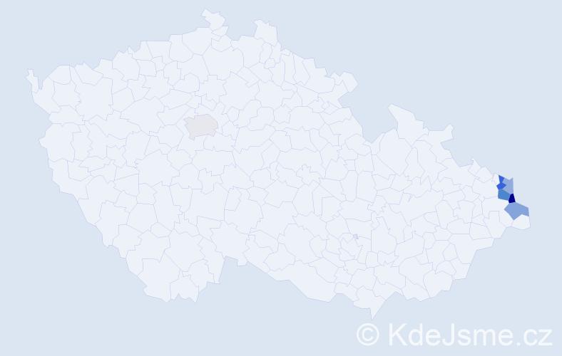 Příjmení: 'Izaiášová', počet výskytů 10 v celé ČR