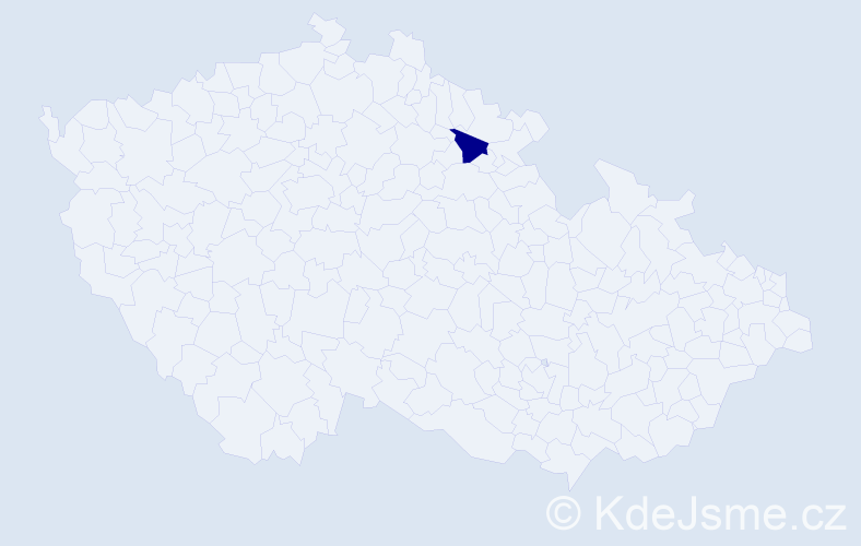 """Příjmení: '""""Chaloupková Hančilová""""', počet výskytů 1 v celé ČR"""
