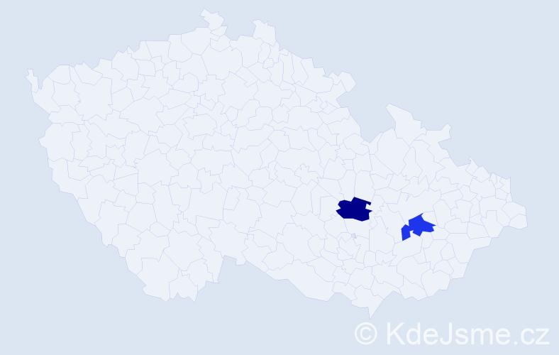 Příjmení: 'Kačunićová', počet výskytů 2 v celé ČR