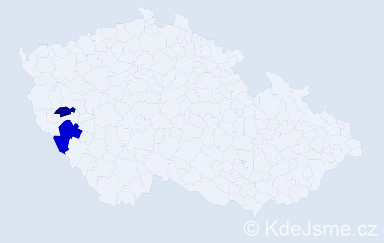 Příjmení: 'Jedenástik', počet výskytů 3 v celé ČR