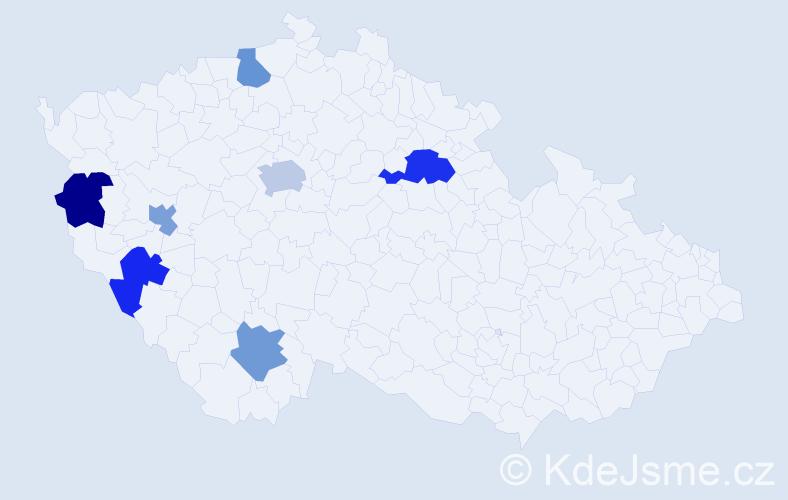 Příjmení: 'Kreuzig', počet výskytů 9 v celé ČR