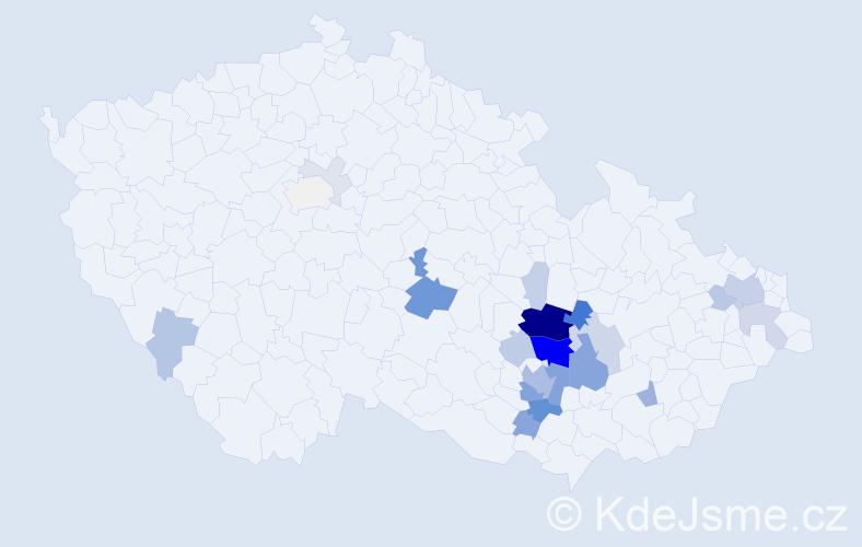 Příjmení: 'Henek', počet výskytů 83 v celé ČR