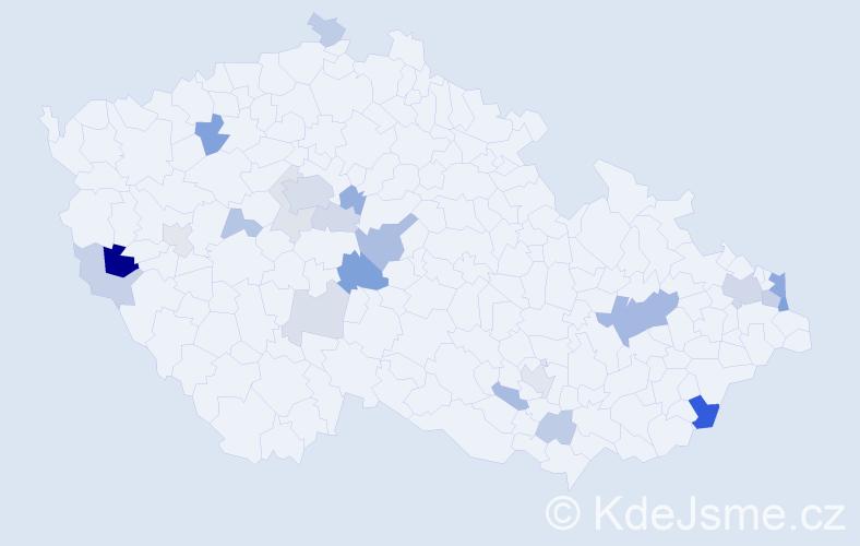 Příjmení: 'Bukovanský', počet výskytů 53 v celé ČR
