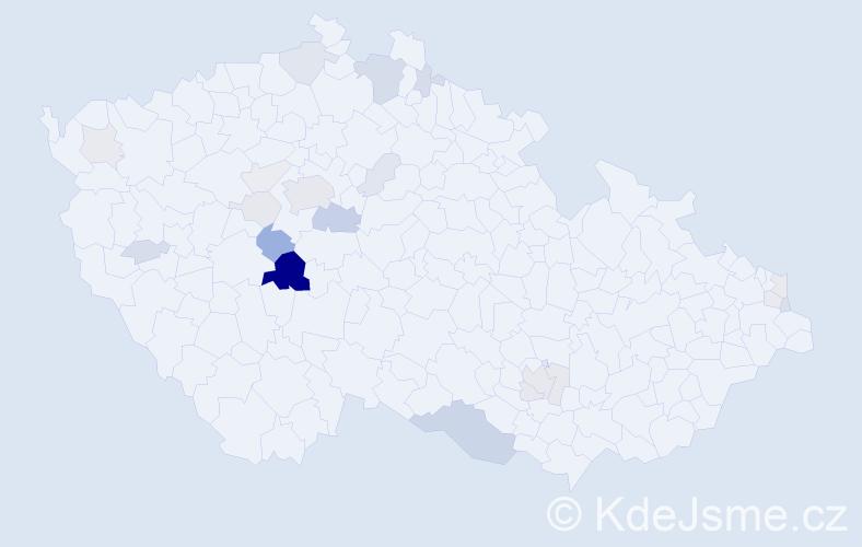 Příjmení: 'Čejdová', počet výskytů 64 v celé ČR