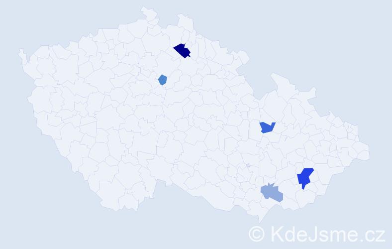 Příjmení: 'Ahmadi', počet výskytů 11 v celé ČR