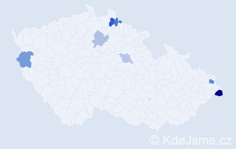 Příjmení: 'Lehotová', počet výskytů 12 v celé ČR