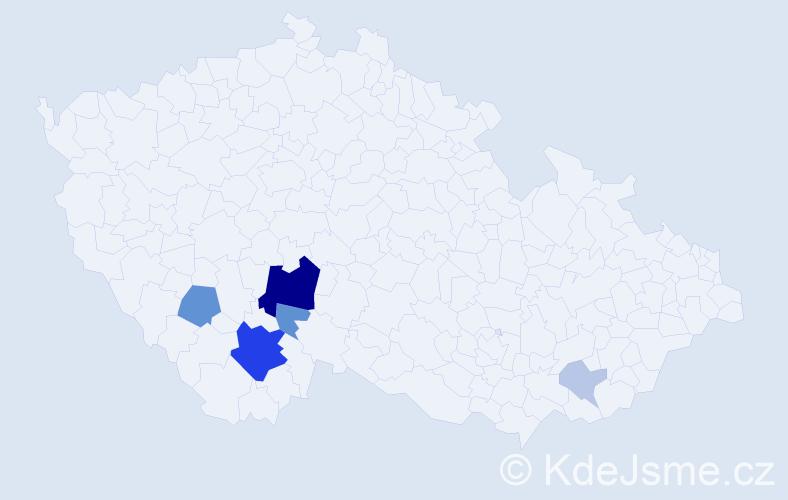 Příjmení: 'Laszák', počet výskytů 20 v celé ČR