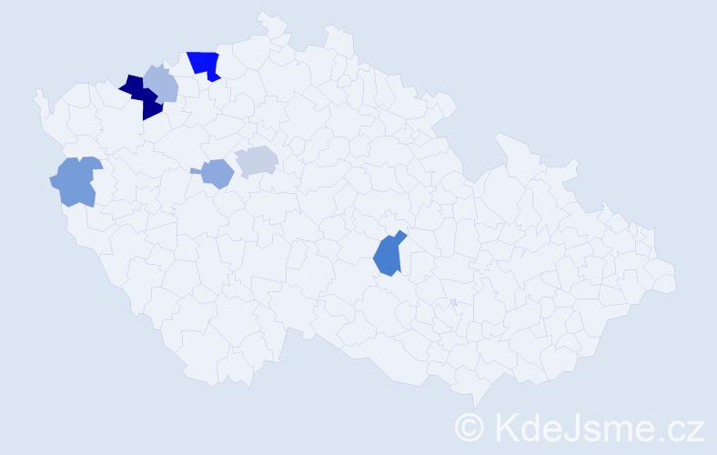 Příjmení: 'Bergner', počet výskytů 20 v celé ČR