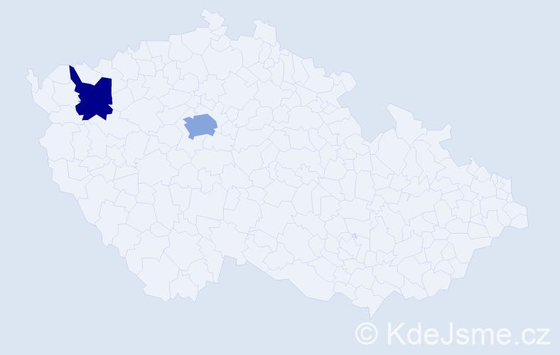 Příjmení: 'Eftimova', počet výskytů 6 v celé ČR