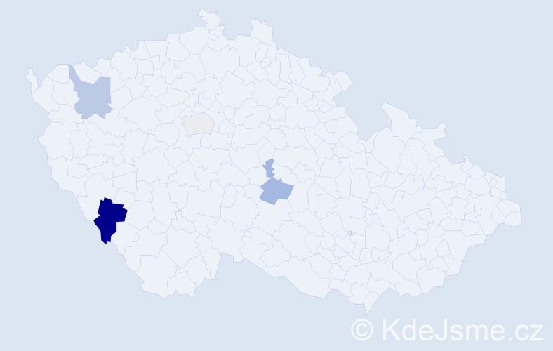 Příjmení: 'Houdeček', počet výskytů 6 v celé ČR