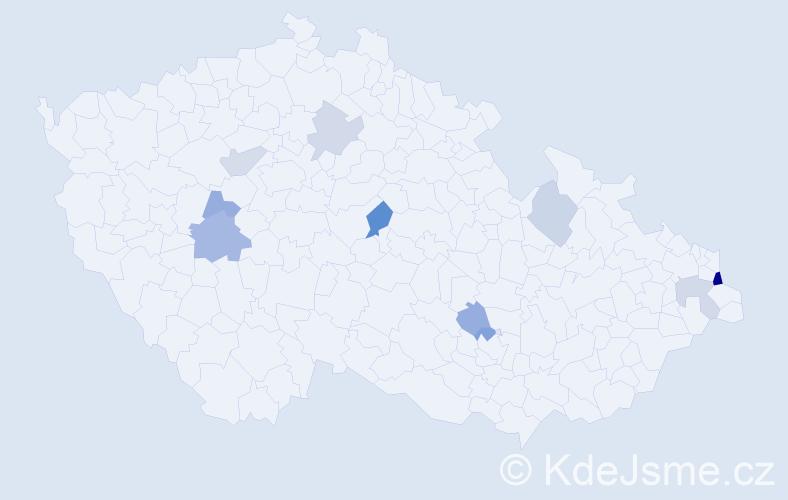 Příjmení: 'Gaľová', počet výskytů 16 v celé ČR