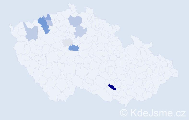 Příjmení: 'Kekelová', počet výskytů 17 v celé ČR