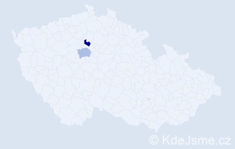 Příjmení: 'Kovačeva', počet výskytů 4 v celé ČR