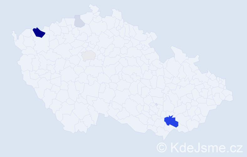 Příjmení: 'Gasparová', počet výskytů 14 v celé ČR