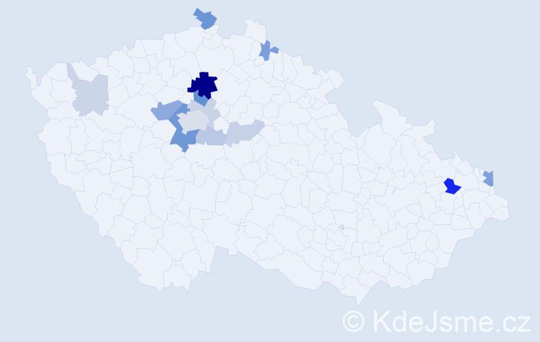 Příjmení: 'Dzian', počet výskytů 35 v celé ČR