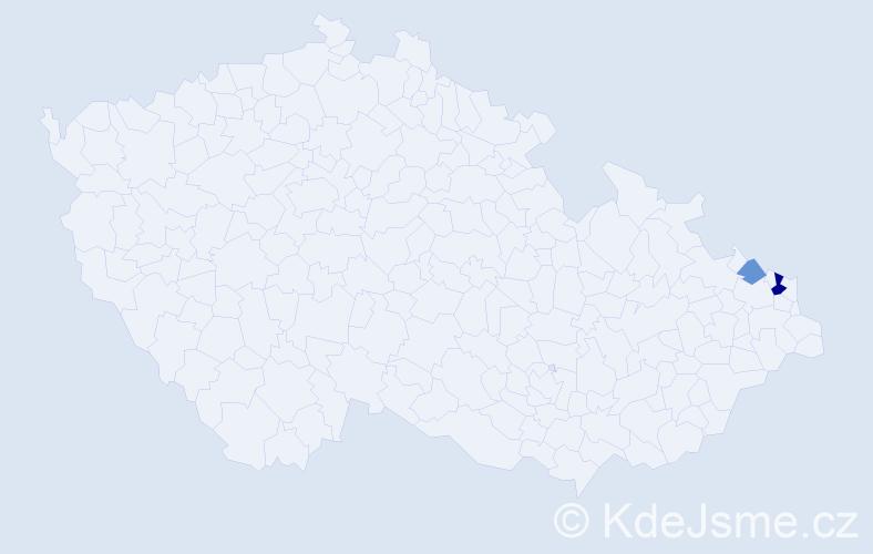 Příjmení: 'Gencová', počet výskytů 4 v celé ČR