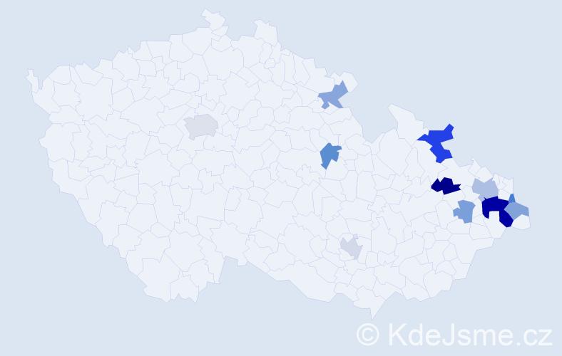 Příjmení: 'Koniar', počet výskytů 19 v celé ČR
