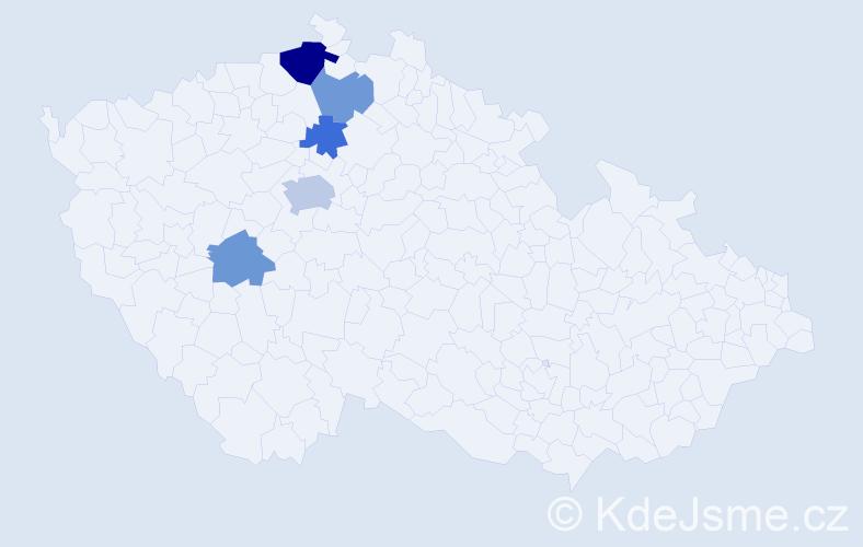 Příjmení: 'Bříško', počet výskytů 9 v celé ČR