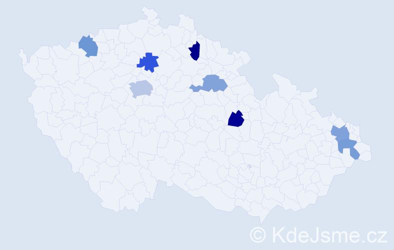 Příjmení: 'Čakajdová', počet výskytů 11 v celé ČR