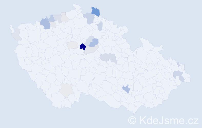 Příjmení: 'Lázok', počet výskytů 62 v celé ČR