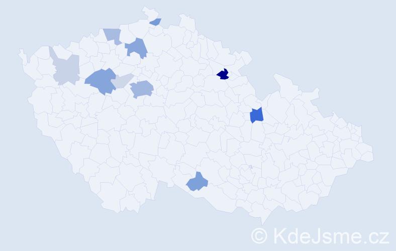 Příjmení: 'Brouk', počet výskytů 32 v celé ČR