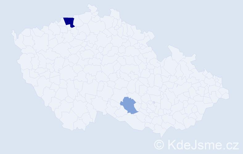 Příjmení: 'Jún', počet výskytů 6 v celé ČR