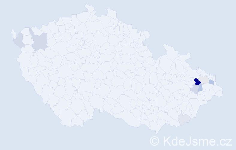 Příjmení: 'Kilnar', počet výskytů 36 v celé ČR