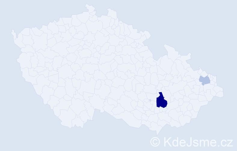 Příjmení: 'Bajs', počet výskytů 3 v celé ČR