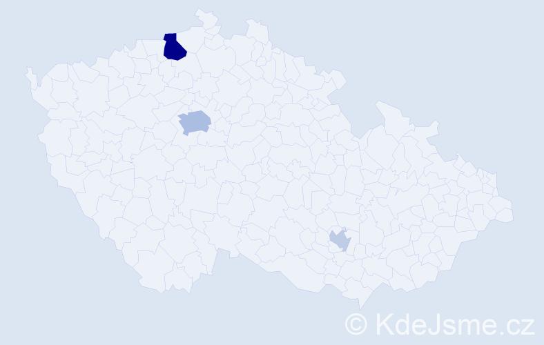 Příjmení: 'Kinovičová', počet výskytů 9 v celé ČR