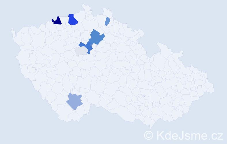 Příjmení: 'Kocvera', počet výskytů 12 v celé ČR