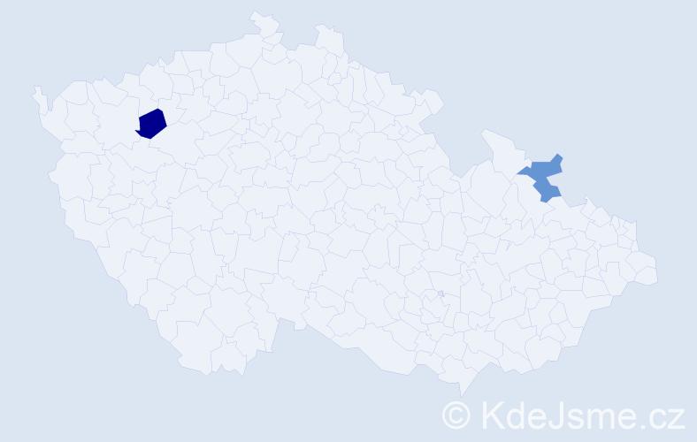 Příjmení: 'Lanyi', počet výskytů 2 v celé ČR
