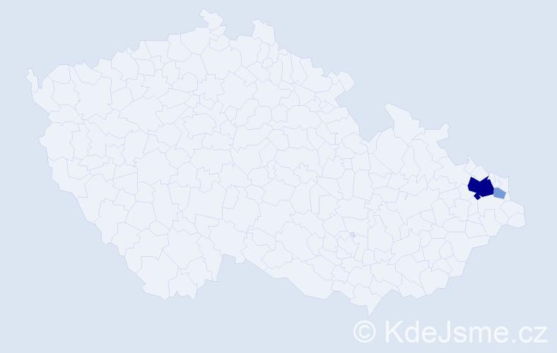 Příjmení: 'Bernadyová', počet výskytů 9 v celé ČR