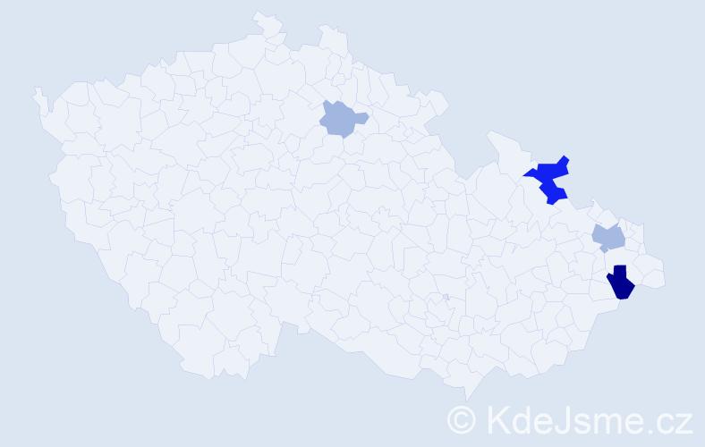 Příjmení: 'Bányácski', počet výskytů 12 v celé ČR