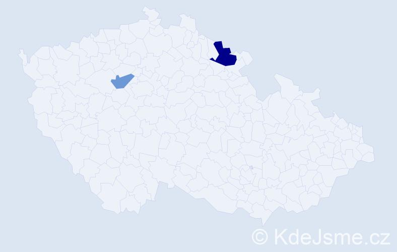 Příjmení: 'Maksimovićová', počet výskytů 3 v celé ČR