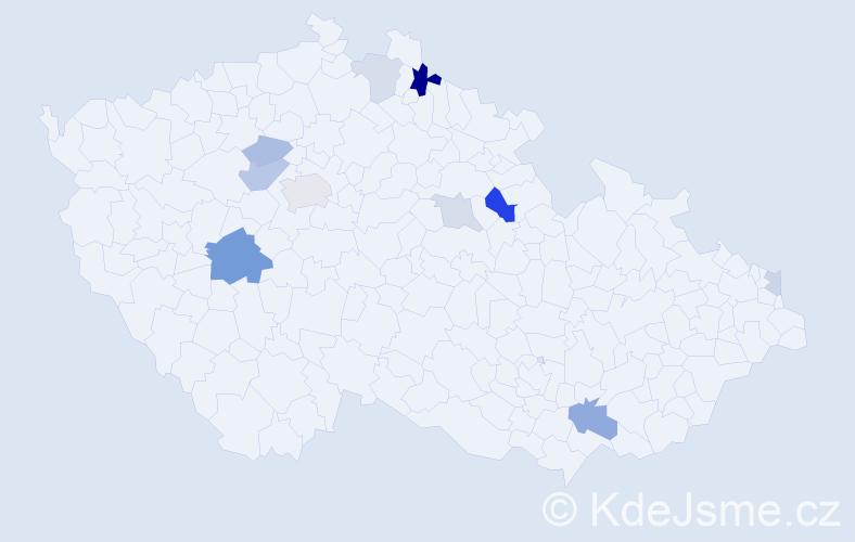 Příjmení: 'Kocka', počet výskytů 22 v celé ČR