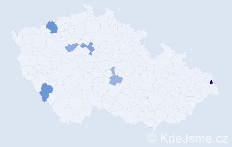 Příjmení: 'Izsáková', počet výskytů 12 v celé ČR