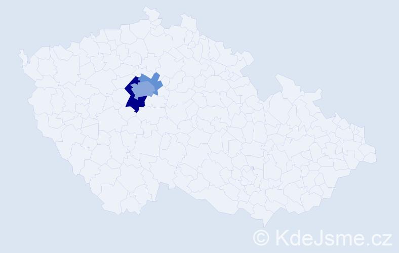 Příjmení: 'Frydl', počet výskytů 9 v celé ČR