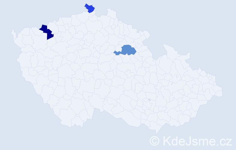 Příjmení: 'Eperješiová', počet výskytů 5 v celé ČR