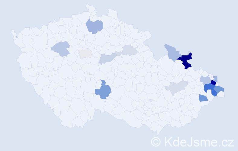 Příjmení: 'Chwistková', počet výskytů 50 v celé ČR