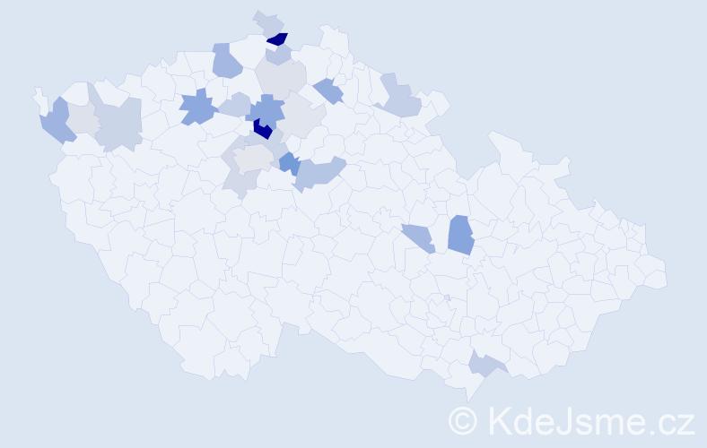 Příjmení: 'Hanykýř', počet výskytů 63 v celé ČR