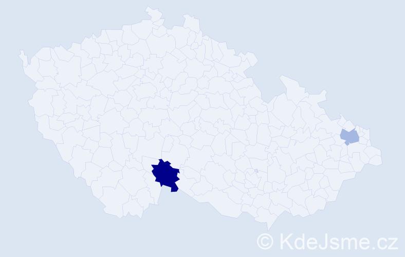 Příjmení: 'Kasidlová', počet výskytů 5 v celé ČR