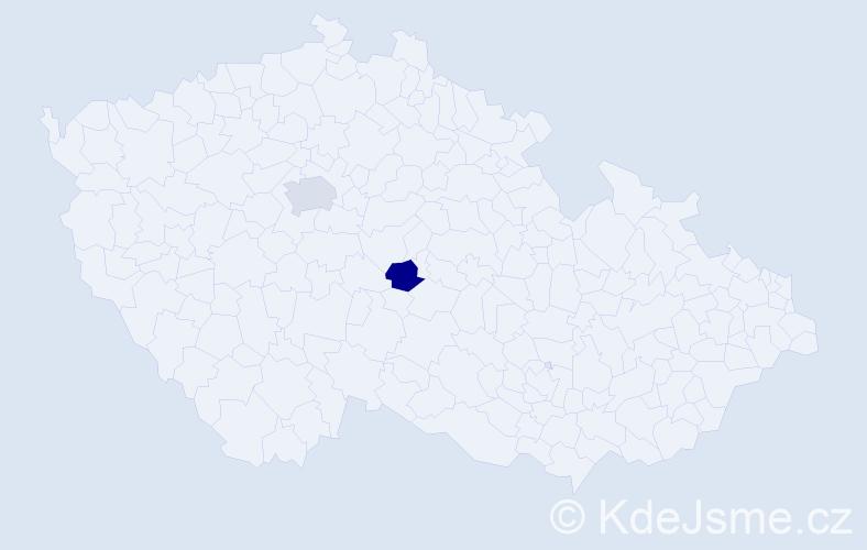 Příjmení: 'Ackerman', počet výskytů 8 v celé ČR